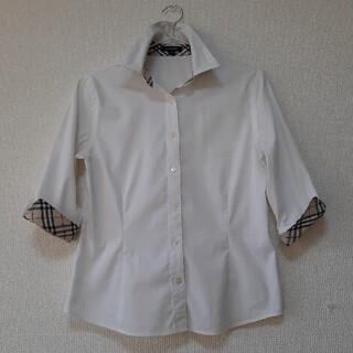 バーバリー(BURBERRY)のBURBERRY London 白シャツ サイズS 美品(シェイプデザイン)(シャツ/ブラウス(長袖/七分))