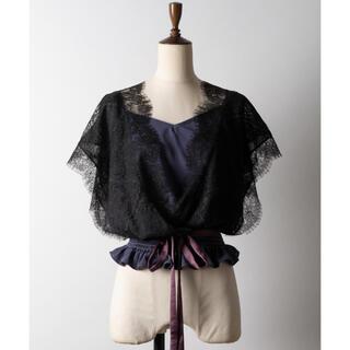 ラベルエチュード(la belle Etude)のla belle etude カシュクールレースブラウス ブラック(シャツ/ブラウス(半袖/袖なし))