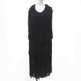 ランバン(LANVIN)のランバン ドレス ワンピース ノースリーブ 膝丈 フリンジ ネイビー 紺 XS(ひざ丈ワンピース)