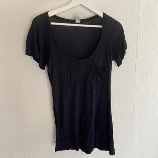 エルエヌエー(LnA)のLNA Uネック ブラック Tシャツ アメリカ製(Tシャツ(半袖/袖なし))