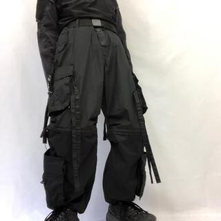 ヨウジヤマモト(Yohji Yamamoto)の【UK Label テクノパンツ デッドストック】M ブラック 軍 ミリタリー(ワークパンツ/カーゴパンツ)