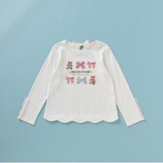 メゾピアノ(mezzo piano)のメゾピアノ リボン×クマ刺しゅう裾スカラップTシャツ(Tシャツ/カットソー)