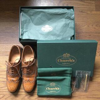 チャーチ(Church's)のチャーチ  ブラウン ラバーソール ウィングチップ バーウッド 37 24cm(ローファー/革靴)