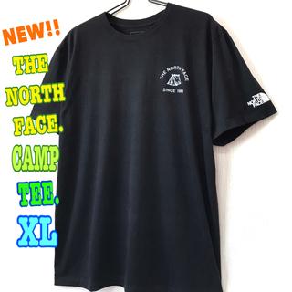 ザノースフェイス(THE NORTH FACE)のほっこり系 ☆ 新品 ノースフェイス キャンプ Tシャツ 黒 XL LL(Tシャツ/カットソー(半袖/袖なし))