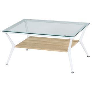 ガラス製リビングテーブル/ローテーブル  幅80cm ナチュラル(ローテーブル)