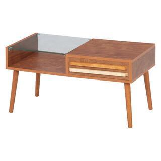 ツートーン取手リビングテーブル ミディアムブラウン 幅80cm(ローテーブル)