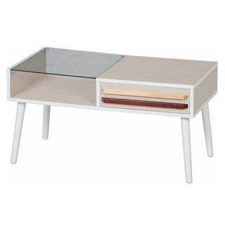ツートーン取手リビングテーブル ホワイトウォッシュ 幅80cm(ローテーブル)