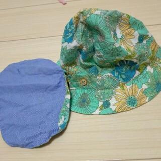 ラグマート(RAG MART)のラグマート 日除け付き帽子 ハット ブルー 花柄 女の子(帽子)