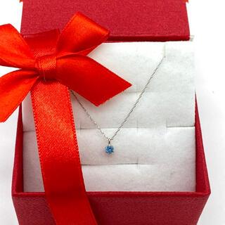 プラチナ誕生石ネックレス【11月】ブルートパーズ3ミリ石。ギフトボックス付き(ネックレス)
