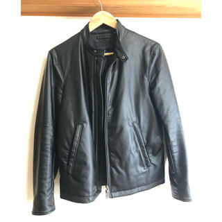 ユニクロ(UNIQLO)のUNIQLO レザージャケット 革ジャン 黒 Sサイズ(レザージャケット)