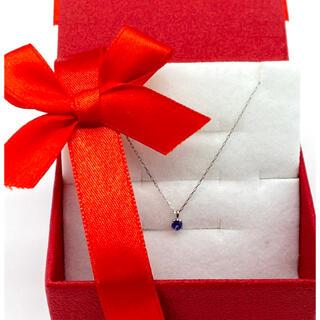 プラチナ誕生石ネックレス【12月】タンザナイト3ミリ幅。ギフトボックス付き(ネックレス)