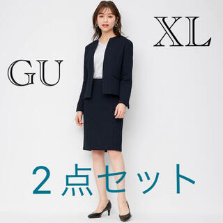 GU - 新品☆2点セット☆ ツイーディノーカラージャケット+ツイーディタイトスカートXL