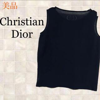クリスチャンディオール(Christian Dior)のChristian Dior 美品 タンクトップ ノースリーブ ネイビー(タンクトップ)