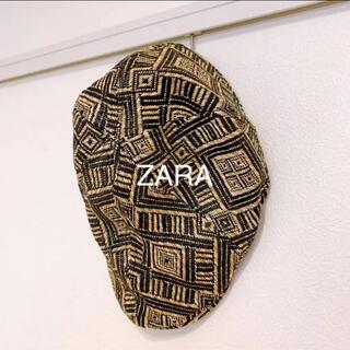 ザラ(ZARA)のZARA man ハンチング帽 夏用 麦わら帽子 幾何学模様(ハンチング/ベレー帽)