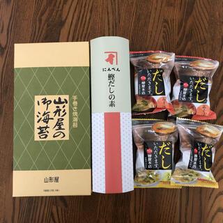 にんべん鰹だしの素、味噌汁、スープ、山形屋の海苔(乾物)