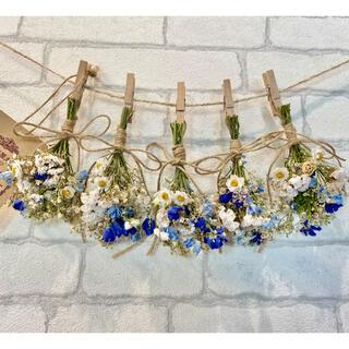 ドライフラワー スワッグ ガーランド❁284 青ブルー 白デルフィニウム 花束(ドライフラワー)