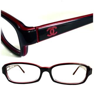 シャネル(CHANEL)のシャネル 黒×ボルドー赤 バイカラー ココ メガネ 3158 希少デザイン☆人気(サングラス/メガネ)