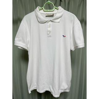 メゾンキツネ(MAISON KITSUNE')のMAISON Kitsuné メゾンキツネ ポロシャツ トリコロール白 Mサイズ(ポロシャツ)