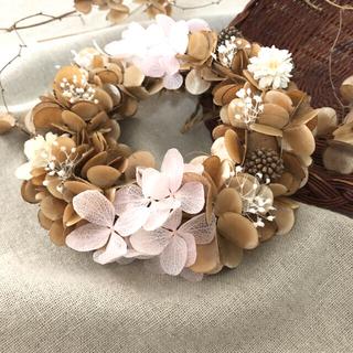 ブラウンと紫陽花のリース♡ドライフラワーリース(ドライフラワー)
