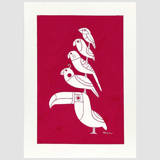 アート絵画「小鳥ブレーメン ベルベットレッド」(アート/写真)