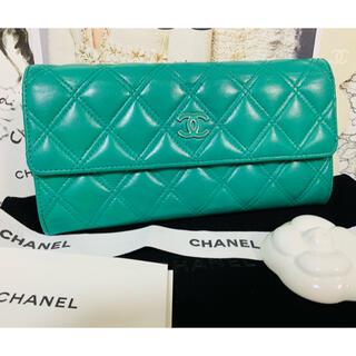 シャネル(CHANEL)の美品✨✨CHANEL レアカラー🌟エメラルドグリーン フラップ 長財布(財布)