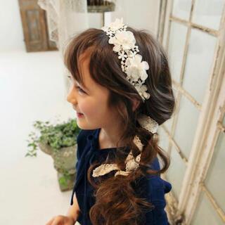ザラキッズ(ZARA KIDS)の*韓国子供服 * フラワー レース ヘアバンド 花冠 リボン アクセ(その他)