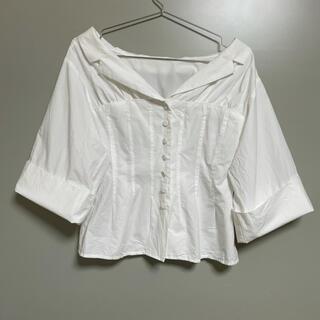 イネド(INED)のオープンシャツ ブラウス 襟付き ホワイト 白 2way(シャツ/ブラウス(半袖/袖なし))