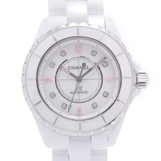 シャネル(CHANEL)のシャネル  J12 38mm ピンクライト 8Pダイヤ 腕時計(腕時計(アナログ))