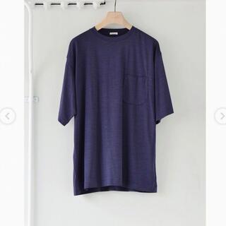 コモリ(COMOLI)のCOMOLI 21ss ウール天竺 半袖クルー  フレンチネイビー  size2(Tシャツ/カットソー(半袖/袖なし))