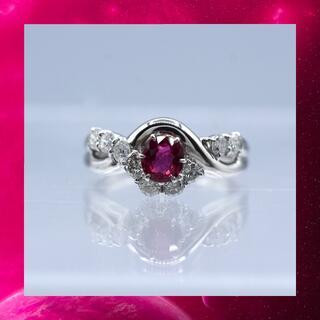 大粒 ルビー ダイヤモンドリング pt900 プラチナ リング 指輪(リング(指輪))