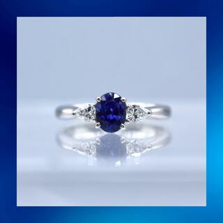 鮮やか❗️サファイア ダイヤモンド pt950 プラチナ リング(リング(指輪))
