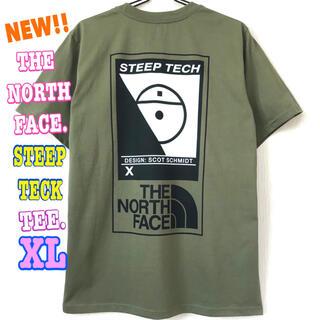 ザノースフェイス(THE NORTH FACE)の厚生地 ♪ 新品 ノースフェイス STEEP TECK Tシャツ オリーブ XL(Tシャツ/カットソー(半袖/袖なし))