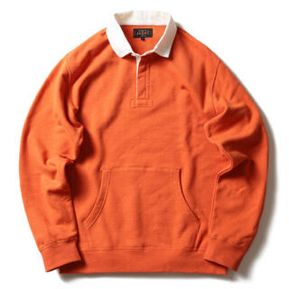 BEAMS - BEAMS PLUS コットンフリース ラグビーシャツ オレンジ ラルフローレン