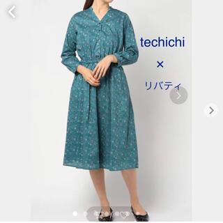 テチチ(Techichi)のtechichi テチチ 。リバティ タナローン小花柄ワンピース。ブルー系(ロングワンピース/マキシワンピース)