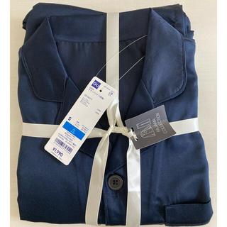 ジーユー(GU)の新品 タグ付き GU  サテンパジャマ Sサイズ 長袖 パジャマ シルク風 紺(その他)
