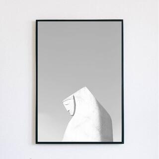 【アートポスター】ニュアンス 彫刻 グレー 抽象画 現代アート おしゃれ(アート/写真)
