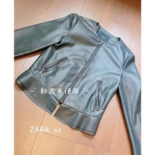 ザラ(ZARA)のZARA ペプラムジャケット レザージャケット(ライダースジャケット)