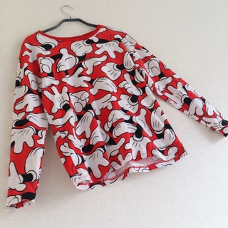 ディズニー(Disney)の◆27 レア デッドストック ミッキー カットソー ラグラン ディズニー 赤(Tシャツ/カットソー(七分/長袖))