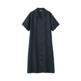 ムジルシリョウヒン(MUJI (無印良品))のキャメル様 無印良品 新品 フレンチリネン五分袖開襟ワンピース(ロングワンピース/マキシワンピース)