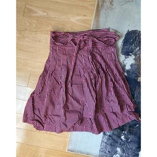 マークジェイコブス(MARC JACOBS)のマークジェイコブスストライプラップスカート巻きピンクブラックMARCJACOBS(ひざ丈スカート)