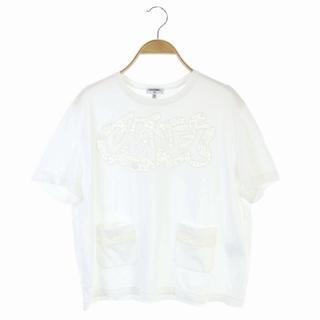 シャネル(CHANEL)のシャネル ロゴカットワークレースTシャツ カットソー 半袖 38 40 白(カットソー(半袖/袖なし))