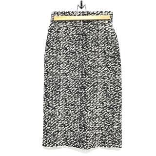 バレンシアガ(Balenciaga)のバレンシアガ バックスリット ツイード タイトスカート ブラック×ホワイト(ロングスカート)