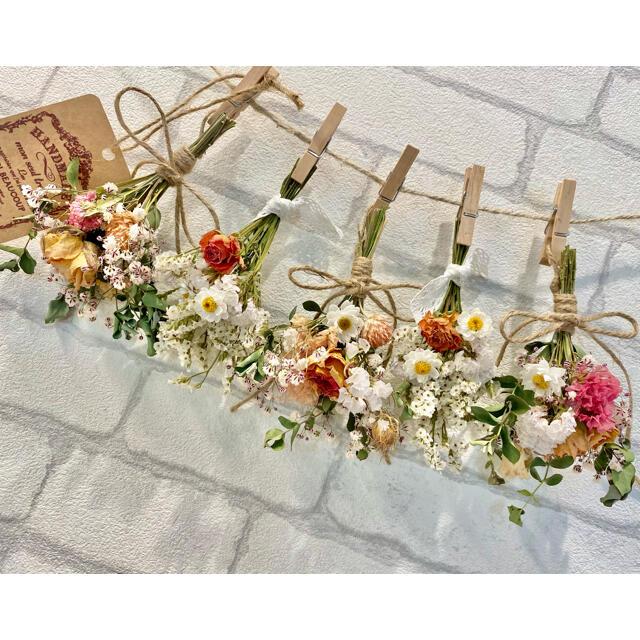ドライフラワー スワッグ ガーランド❁282オレンジピンク 薔薇かすみ草 花束 ハンドメイドのフラワー/ガーデン(ドライフラワー)の商品写真