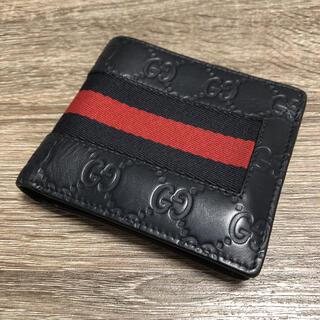 Gucci - グッチ GUCCI グッチシマ シェリーライン 二つ折り財布 レザー ネイビー