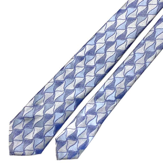 ARMANI COLLEZIONI(アルマーニ コレツィオーニ)の【美品】ARMANI COLLEZIONI ネクタイ イタリア製 織柄 ブルー メンズのファッション小物(ネクタイ)の商品写真