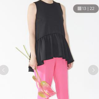 ツルバイマリコオイカワ(TSURU by Mariko Oikawa)のツルバイマリコオイカワ🖤Ꮇatine ペプラムトップス ブラック(カットソー(半袖/袖なし))