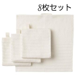 イケア(IKEA)のIKEA タオルハンカチ ホワイト ループ付き 8枚セット ヴォーグショーン(タオル/バス用品)