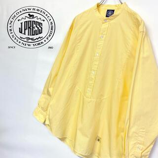 ジェイプレス(J.PRESS)の美品 j J.PRESS ノーカラー プルオーバーシャツ メンズL (シャツ)