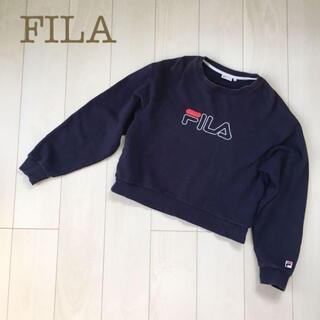 フィラ(FILA)のFILAクルーネックスウェットトレーナービッグロゴネイビー M刺繍レディース春秋(トレーナー/スウェット)