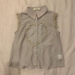 ベリーブレイン(Verybrain)のpink beige heart frill tops(シャツ/ブラウス(半袖/袖なし))